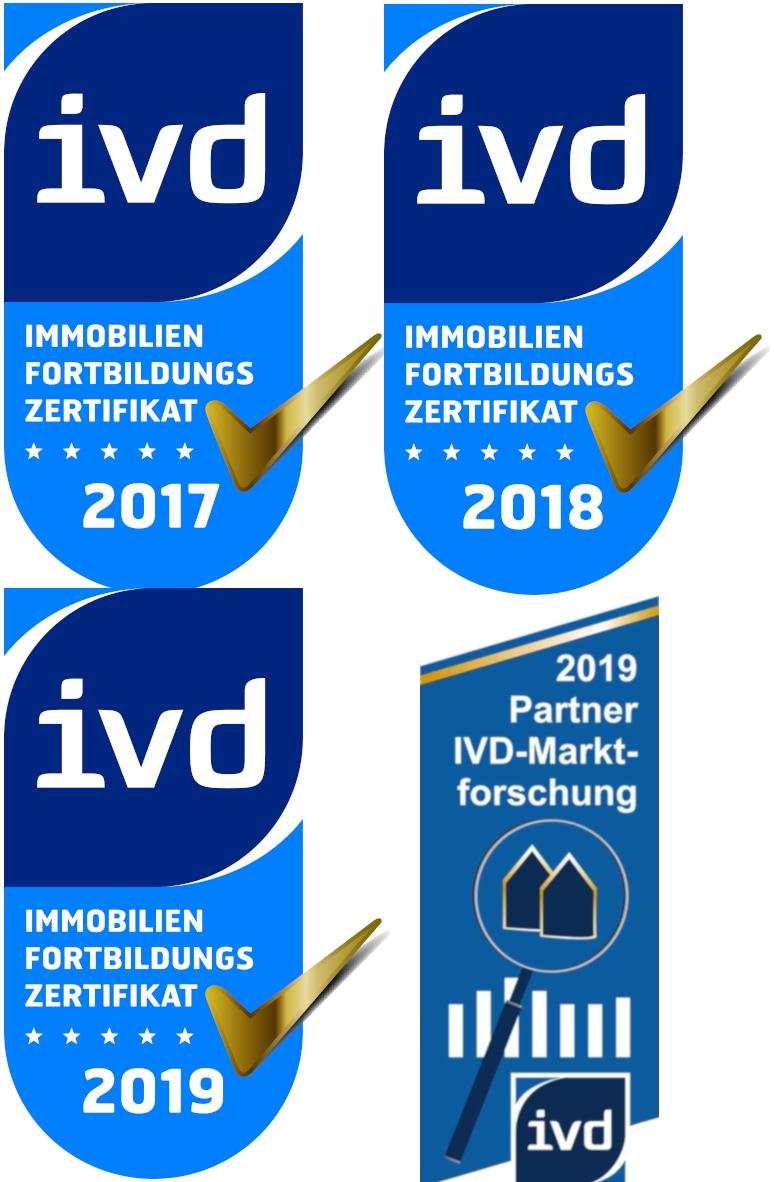 Immobilien Fortbildungs Zerifikate für die Jahre 2017, 2018, 2019 und IDV-Marktforschungspartner 2019